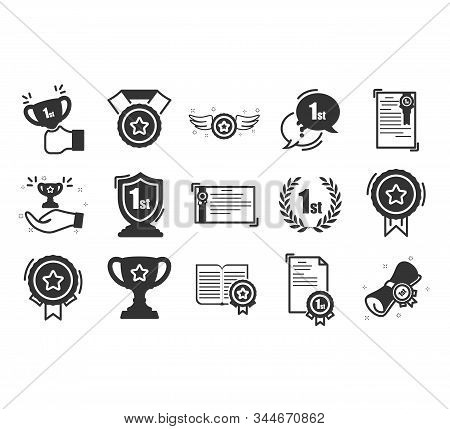 Set Of Awards Vector Icons.  Glory Shield, Prize Winner, Rank Star, Outline Icon Design.modern Linea