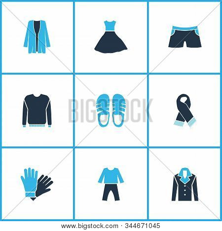 Clothes Icons Colored Set With Cardigan, Scarf, Fashion Dress And Other Overcoat Elements. Isolated