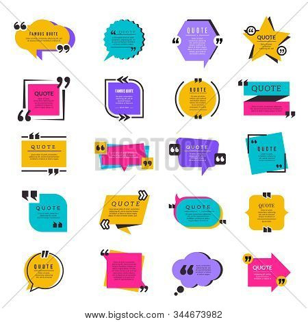 Quote Frames. Texting Citation Bubble Box Paper Information Text Elements Letters Vector Template. S