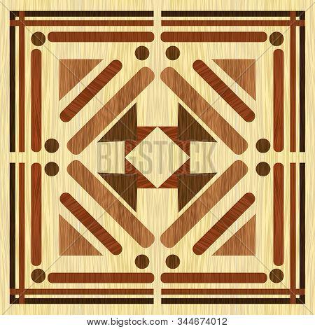 Wooden Inlay With Light Background, Dark Wooden Patterns. Wooden Art Decoration Template. Veneer Tex