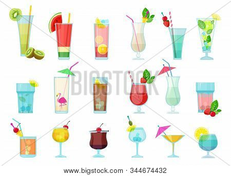 Cocktails. Glasses With Alcoholic Drinks Transparent Cocktail Mix With Fruits Margarita Vodka Martin