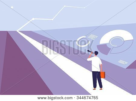 Business Begin Concept. Person Standing On The Road And Viewing In Horizon Opportunity Big Challenge