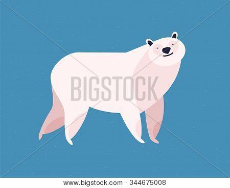 Friendly White Polar Bear At Blue Ice Winter Background Vector Flat Illustration. Wild Arctic Animal