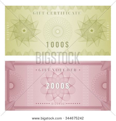 Coupon Template. Certificate Design With Guilloche Engraving Watermarks Shapes And Borders Vector. I