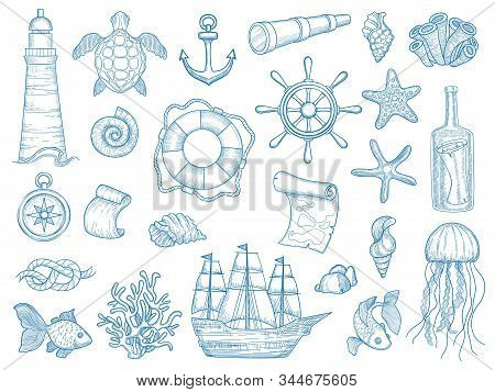 Nautical Collection. Sailing Boats Hand Drawn Marine Set Fishes Vessel Vector Set. Ship Marine, Sea