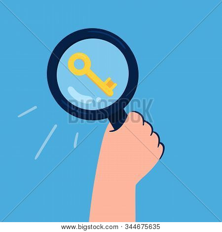 Stylish Keyword Search Concept Hand Holds A Large Magnifying Glass Searching For Keys To Improve Web