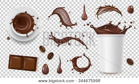 Realistic Coffee Set. Drink Splashes, Coffee Beans And Take Away Cup, Chocolate Isolated On Transpar