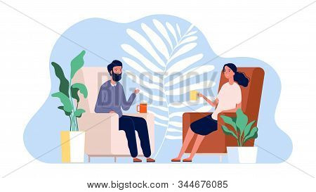 Couple Talking. Family Home Time. Man And Woman Sitting On Armchairs With Drinks Vector Illustration