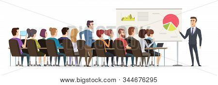Business Lecture. Managers Sitting In Conference Hall And Listen Speech Of Business Couch Public Exe
