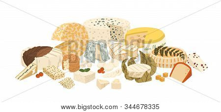 Composition Of Different Cheese Assortiment Vector Illustration. Set Of Slice Lactic Product Isolate