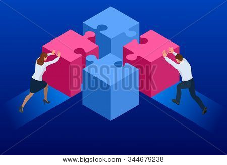 Isometric People Connecting Puzzle Elements. Business Teamwork, Cooperation, Partnership. Teamwork P