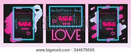 Valentine's neon, valentine's day sale, Valentine's Day background, Valentine's day banners, Valentine's Day flyer, Valentines Day design, Valentines Day with Heart on black background, Copy space text area, vector illustration.