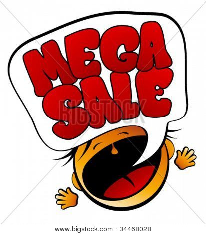 Mega Sale screaming girl sign.