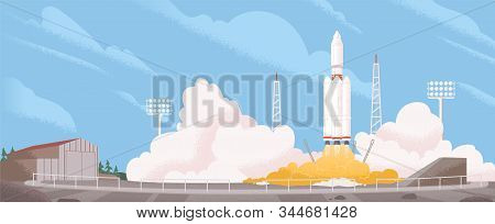 Spaceship Start Cartoon Vector Illustration. Heavy Rocket Carrier Taking Off, Launching Satellite Or