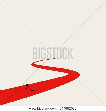 Business Goal Or Objective Vector Concept With Businessman Walking Winding Path. Symbol Of Ambition,