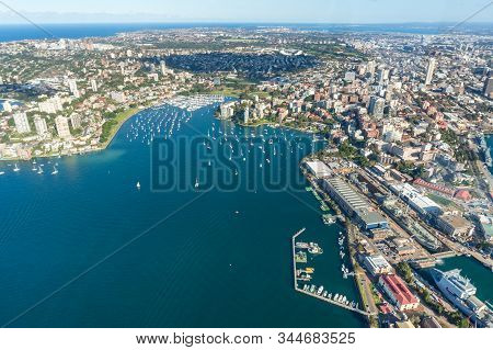 Aerial Cityscape Of Sydney Blackburn Cove, Darling Point And Double Bay Suburbs. Real Estate Propert
