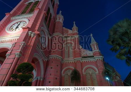 Ho Chi Minh City, Vietnam - August 24, 2017: Tan Dinh Church Exterior Against Deep Blue Sky On The B