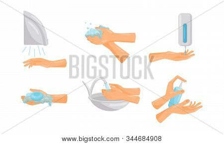 Tips Of How To Wash Hands Properly With Illustrated Hands Actions Vector Set