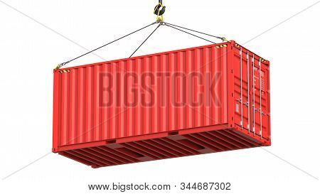 Red Twenty Feet Cargo Container Hanging On A Crane Hook Isolated On White Background. 3d Rendering I