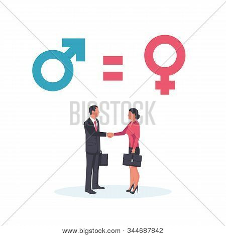 Gender Equality Concept. Business People Man And Woman Stand In A Handshake As A Symbol Of Equality