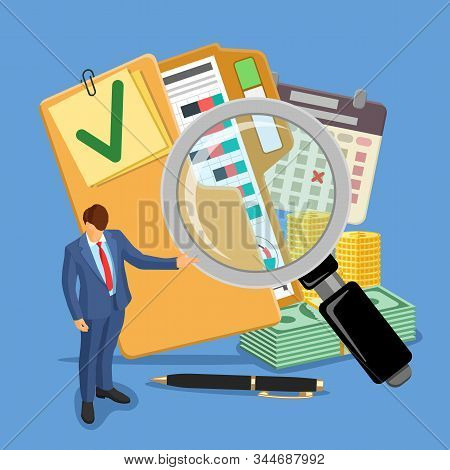 Auditing, Tax, Business Accounting Banner. Auditor, Magnifying Glass And Folder With Checked Up Fina