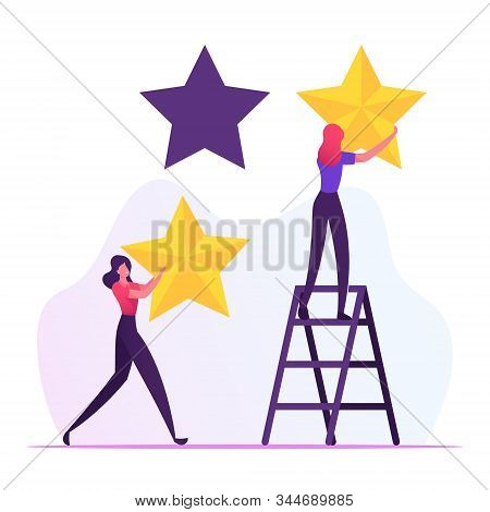 Rating, Quality And Business Ranking Concept. Woman Standing On Ladder Put Golden Stars Into Holes.