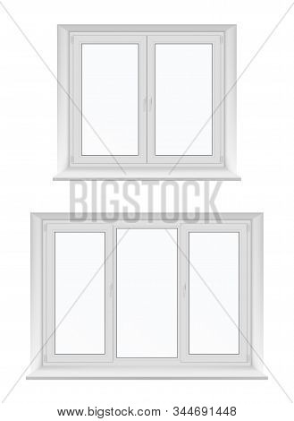 White Isolated Plastic Windows, Vector Design With Pvc Frames And Glass. Inside View Of Realistic Do