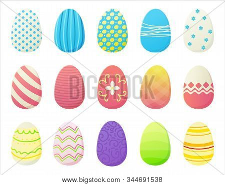 Cartoon Easter Eggs Set With Different Colorfur Gradien Paint, Stripes, Dots And Patterns. Spring Ho