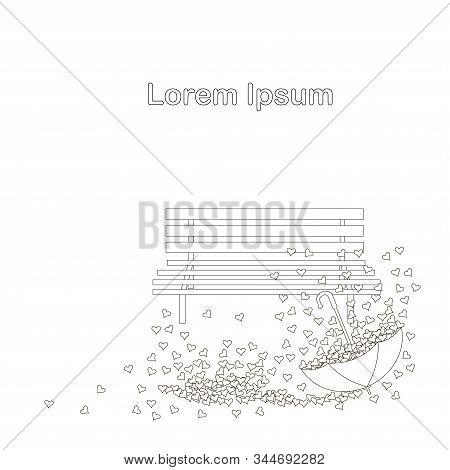 Umbrella, Bench, Hearts Monochrome Background, Lorem Ipsum For Web, For Print, Love Conception, Sain