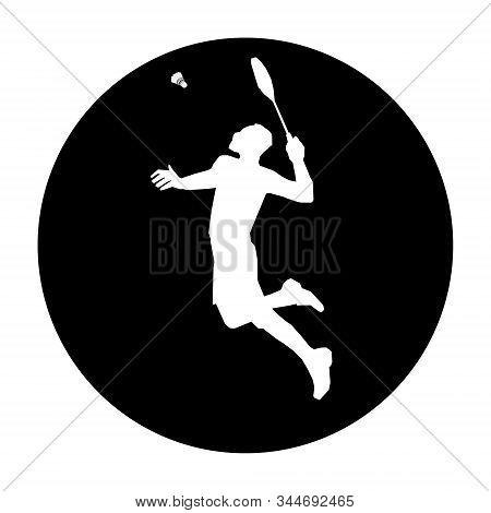 Round Badminton Emblem With Badminton Player Smash Shot
