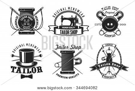 Tailor Shop Vector Icons With Sewing Machine, Needles And Threads, Buttons, Pins And Mannequin, Retr