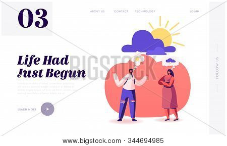 Pessimist And Optimist Girl Friends Communicate Website Landing Page. Couple Of Women Having Differe