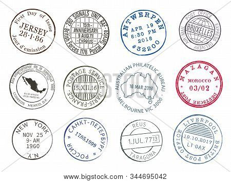 Post Mail Delivery Stamp Contours With City And Dates, Vector Icons. Airmail Postage And Post Office