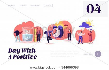 Positive And Negative Thinking Pessimist And Optimist People Website Landing Page. Half Full Or Empt