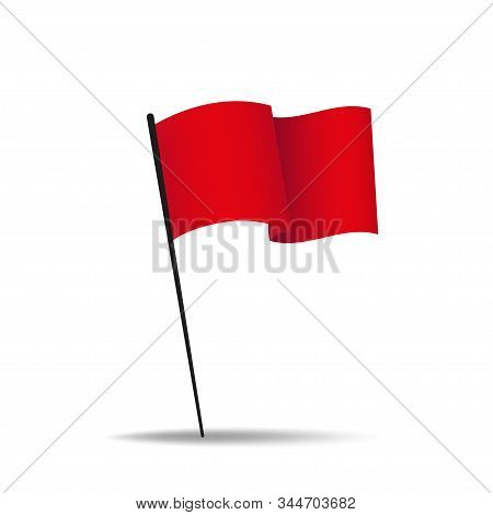 Red Flag Vector Isolated Illustration. Shiny Silk Fabric. Sport Concept. Flag Banner Design. Eps 10