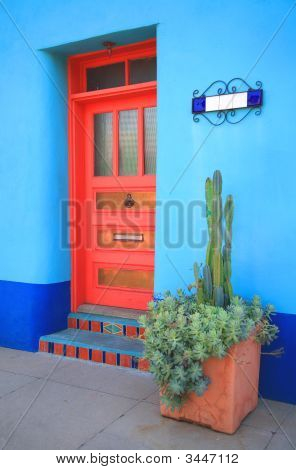 Blue Wall Red Door