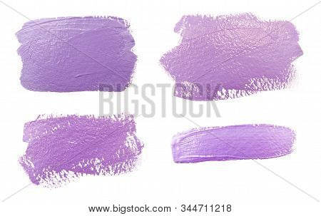 Collection Of Photos Paint Brush Stroke Texture Lilac Purple Watercolor Isolated On A White Backgrou