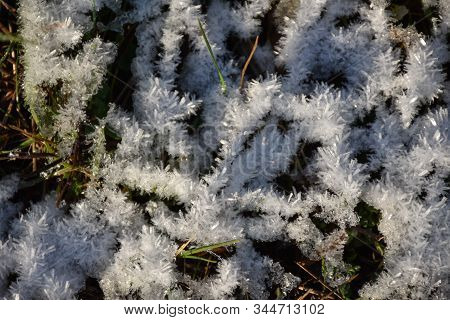 Winter Background With Ice Crystals In The Green Grass