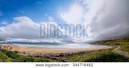 Panoramic View Of Inch Beach. Blue-flag Inch Beach Lies On Daingean Bay On The Dingle Peninsula. One