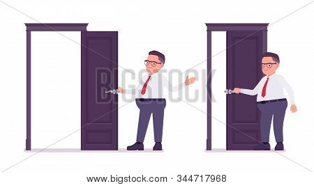 Fat Male Clerk Opening And Closing A Door. Heavy Middle Aged Business Guy, Office Manager, Civil Ser