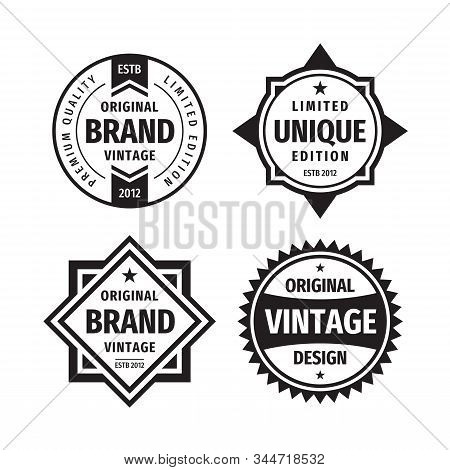 Business Badges Vector Set In Retro Vintage Design Style. Abstract Logo. Premium Quality. Unique Lim