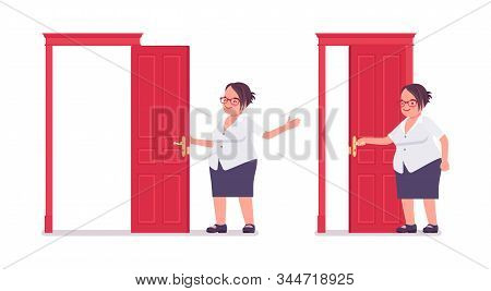 Fat Female Clerk Opening And Closing A Door. Heavy Middle Aged Business Lady, Office Manager, Civil