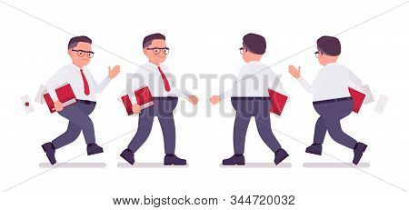 Fat Male Clerk Busy Walking, Running. Heavy Middle Aged Business Guy, Office Manager And Civil Servi