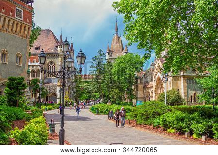 Budapest/hungary- May 8, 2018: Spring Cityscape With Vajdahunyad Castle Complex Courtyard, Featuring