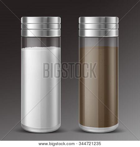 Glass Salt And Black Pepper Shaker With Metal Cap. Vector Realistic Transparent Bottle Salt Cellars