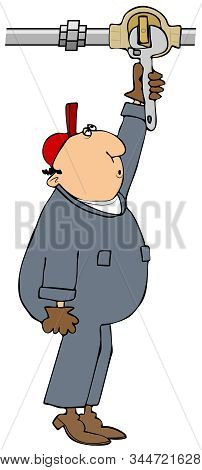 Illustration Of A Worker In Coveralls Standing On His Tiptoes Turning On An Overhead Flathead Valve