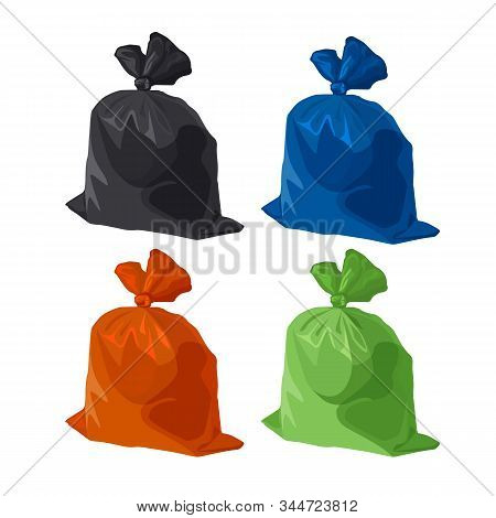 Garbage Bag Icons Set. Rubbish, Waste And Trash In Plastic Pack. Vector