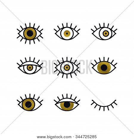 Golden Open And Closed Eyes Line Icons Set. Look, See, Sight, View Sign And Symbol. Vector Linear Gr