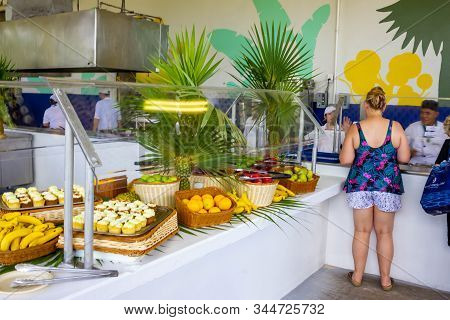 Half Moon Cay, Bahamas - December 02, 2019: People At Lunch At Half Moon Cay, Little San Salvador Is