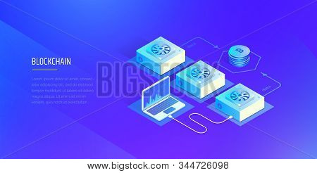 Blockchain Technology. Cryptocurrency And Blockchain Composition. Mining Farm. The Work And Analysis
